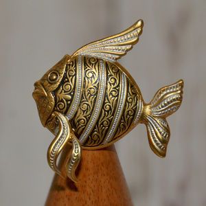 vintage gold fish brooch pin made in Spain fancy